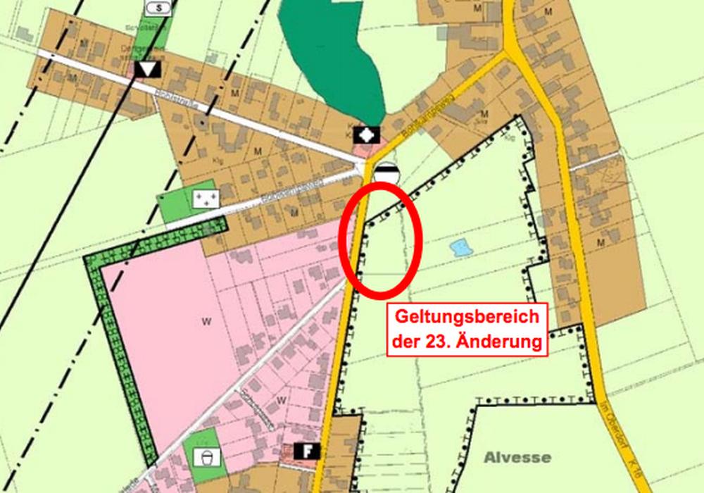 Auszug aus dem wirksamen Flächennutzungsplan der Gemeinde Edemissen (unmaßstäblich). Karte: Gemeinde Edemissen