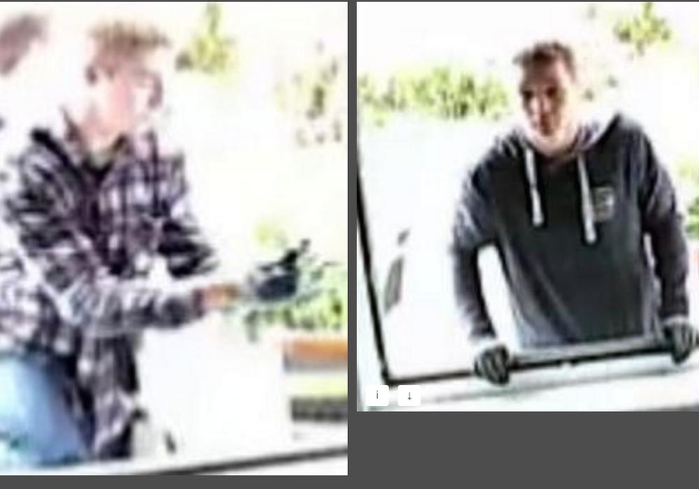 Diese beiden, noch unbekannten Täter werden gesucht. Foto: Polizei