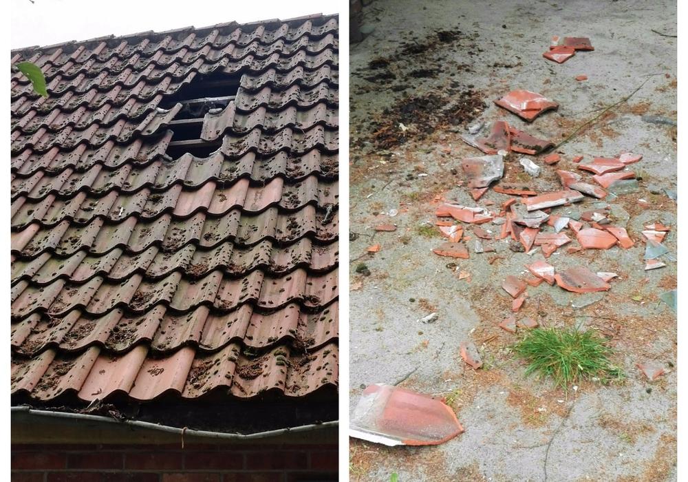 Das Dach weist nun ein Loch auf. Fotos: privat