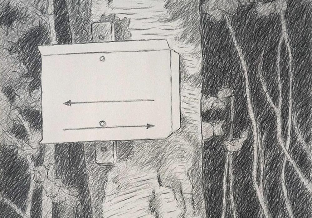 """Thomas Velte: """"Wegzeichen"""" - Graphit auf Papier,  70 x 50 cm."""