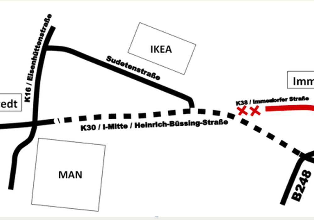 Die Abbindung der Immendorfer Straße von der K 30 steht zur Diskussion. Karte: Stadt Salzgitter