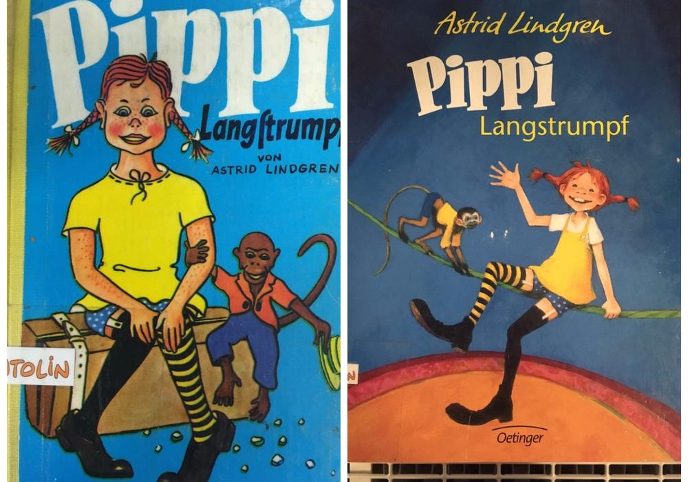 """Astrid Lindgrens Meisterwerk """"Pippi Langstrumpf"""" - Früher (links) und heute. Foto: Marian Hackert"""