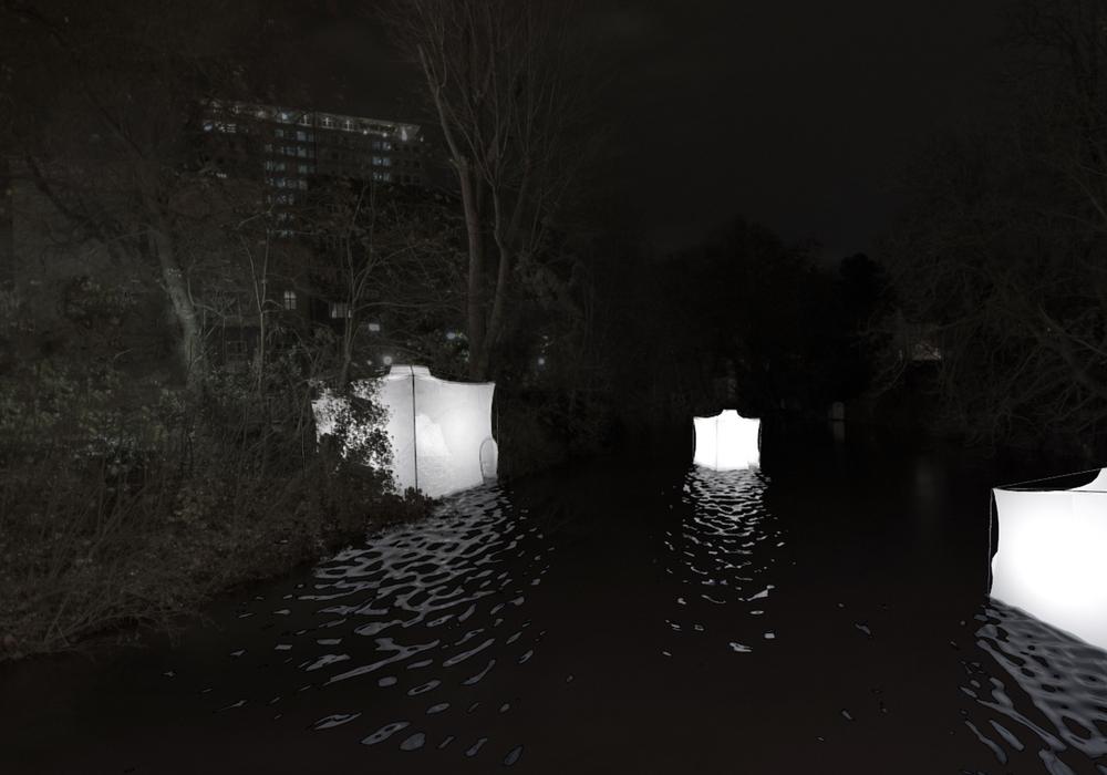 """Lichtkuben auf der Okerumflut: Visualisierung der """"Satelliten"""" von den Architekturstudenten Thies Wacker und Christian Schad. Foto: Privat"""