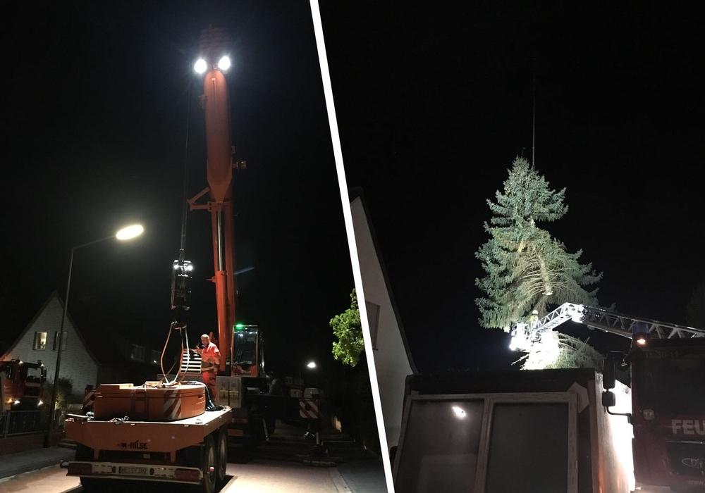 Zur Unterstützung hatte die Feuerwehr einen 70 Tonnen-Kran angefordert. Fotos: Feuerwehr Helmstedt