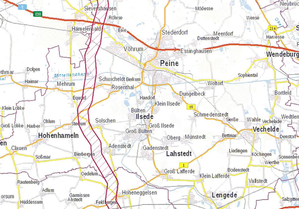 Geplanter Stromtrassenverlauf im Landkreis Peine. Karte: Landkreis Peine