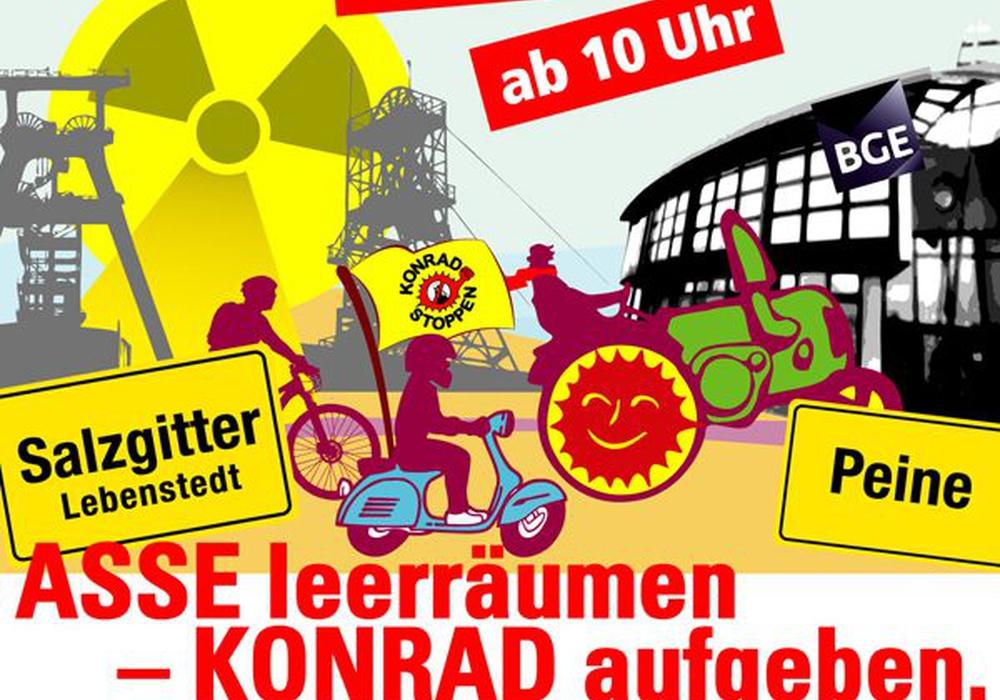 Für kommenden Samstag, 20. Oktober, planen Anti-Atom-Initiativen einen 32 Kilometer langen Treck. Quelle: AG Schacht KONRAD e.V.