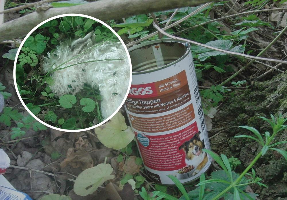 Dies ist eine der Hundefutterdosen, die bei den Hunden aufgefunden wurde. Foto: Polizei Edemissen