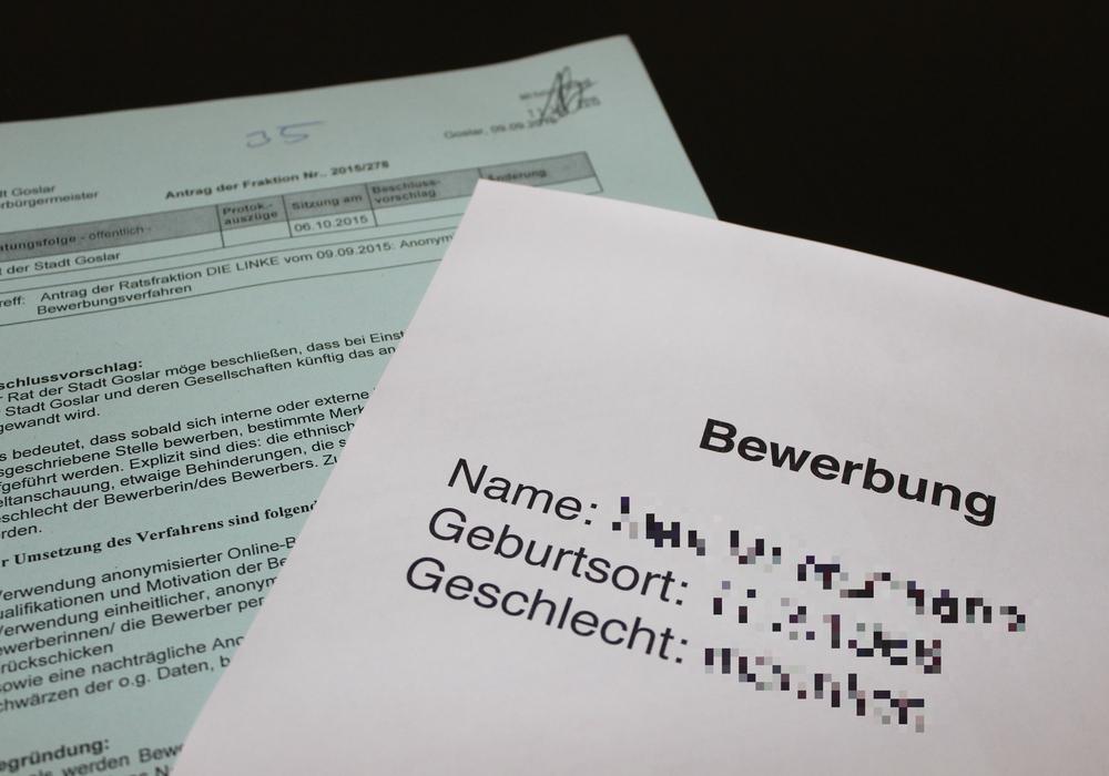 Liegen die Bewerbungsunterlagen bei Personalentscheidern in der Goslarer Verwaltung bald auch ohne Namen, Geburtsdaten und Foto vor? Symbolfoto: Anke Donner