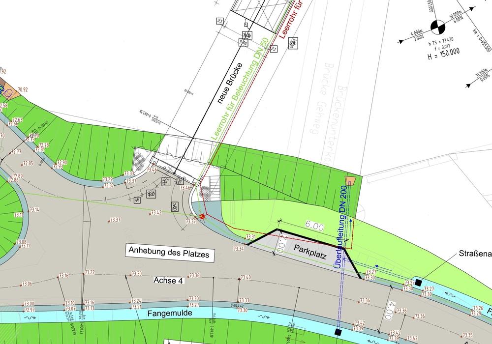 """Im Zuge des Rückbaus und Wiederherstellung der Okerbrücke """"Grund"""" entsteht auch eine Parktasche im nordöstlichen Bereich. Lageplan: Stadt Braunschweig"""