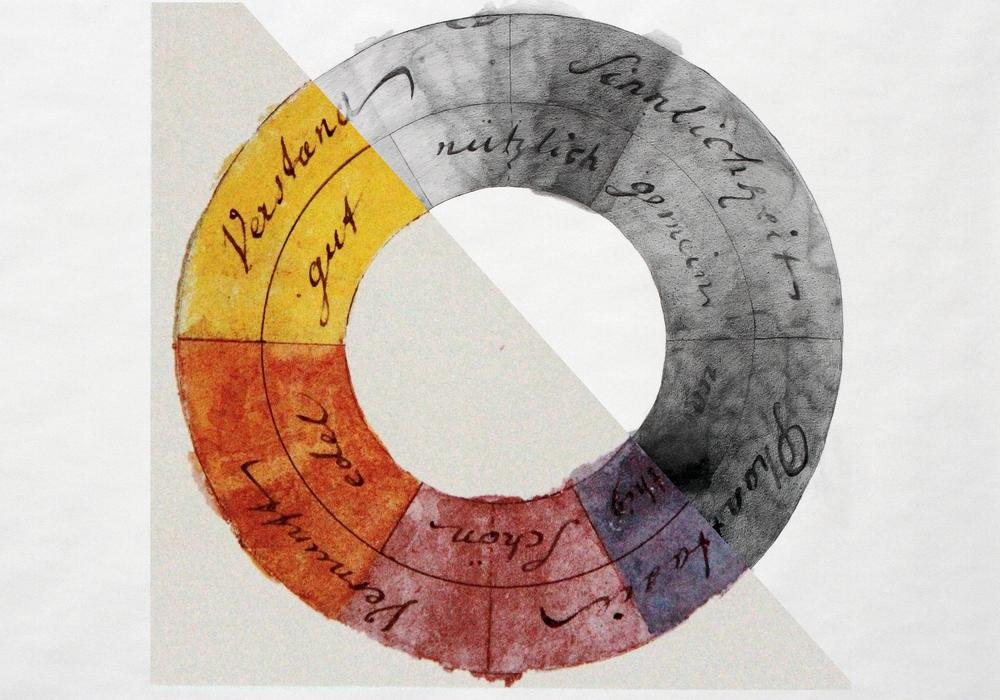 Collage Goethes Farbkreis und S/W-Zeichnung nach Goethes Farbkreis von Ute Heuer, 2012. Foto: Stadt Braunschweig/Daniela Nielsen