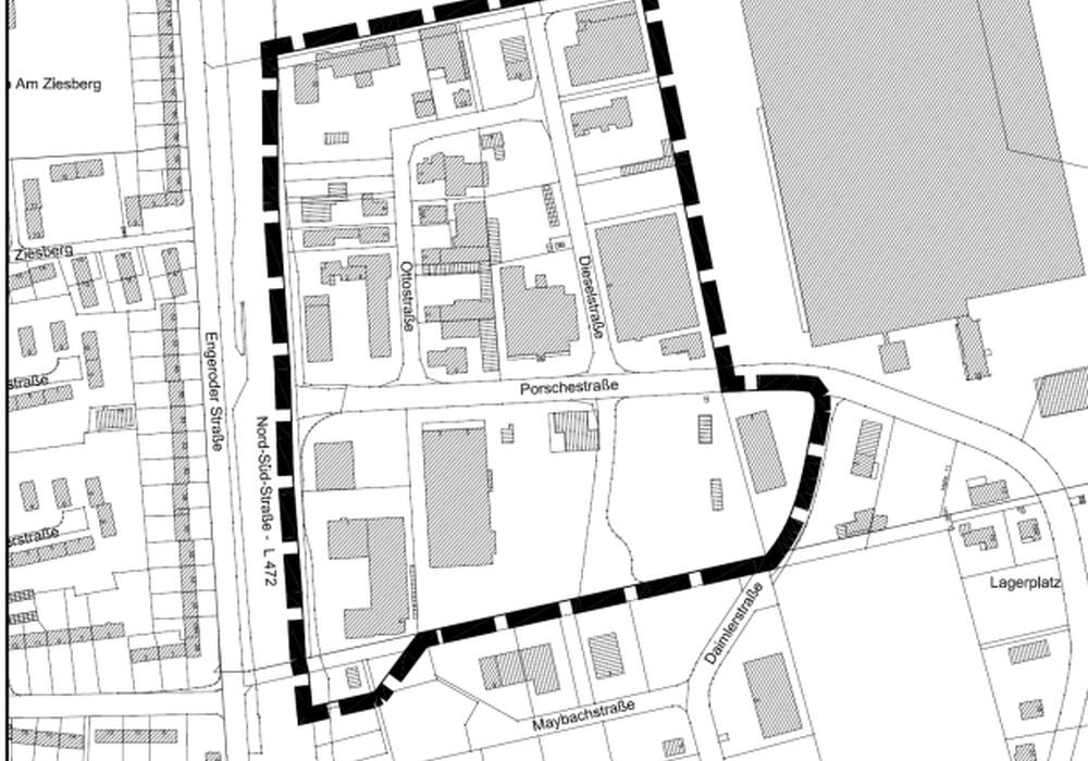 Die schwarze Linie zeigt die Grenze des räumlichen Geltungsbereichs des Bebauungsplans. Grafik: Stadt Salzgitter