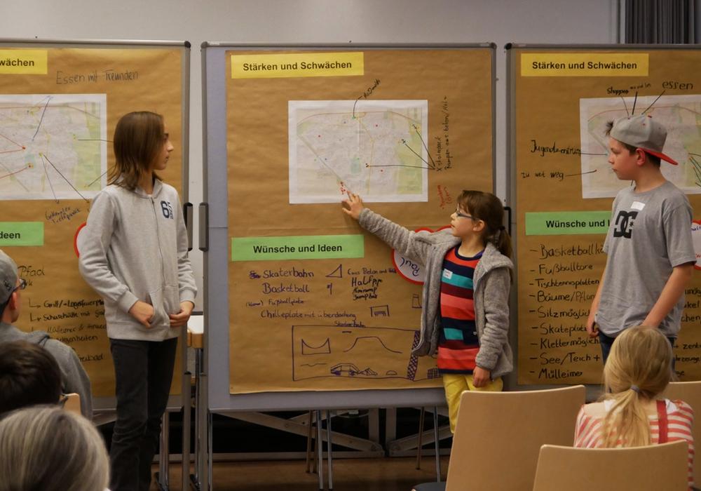 Die Jugendlichen präsentieren ihre Ideen beim Jugendworkshop. Foto: Alexander Panknin