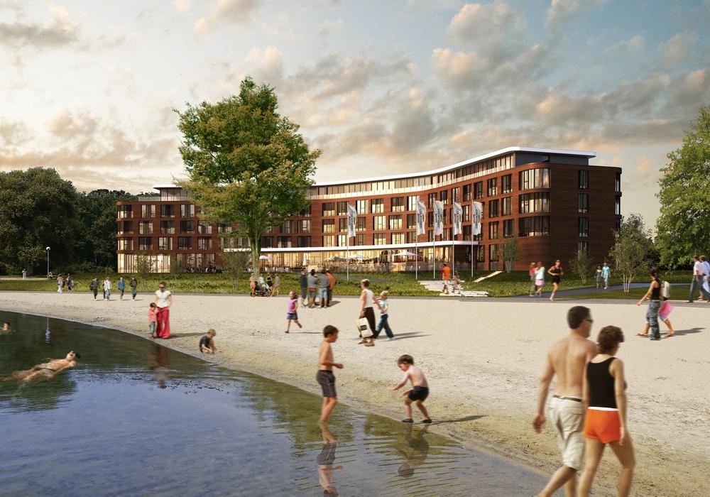 So soll das neue Hotel aussehen. Computeranimation: Courtyard by Marriott Wolfsburg/Fotos: Eva Sorembik