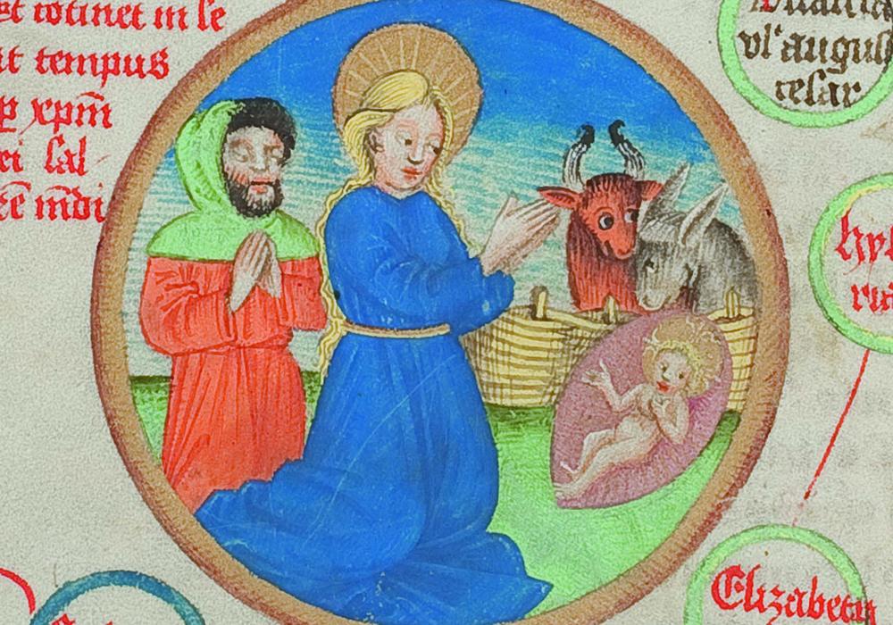 Genealogie Christi von Johannes de Utino. Ausschnitt mit der Geburt Christi, 2. Hälfte 15. Jahrhundert. Foto: HAB