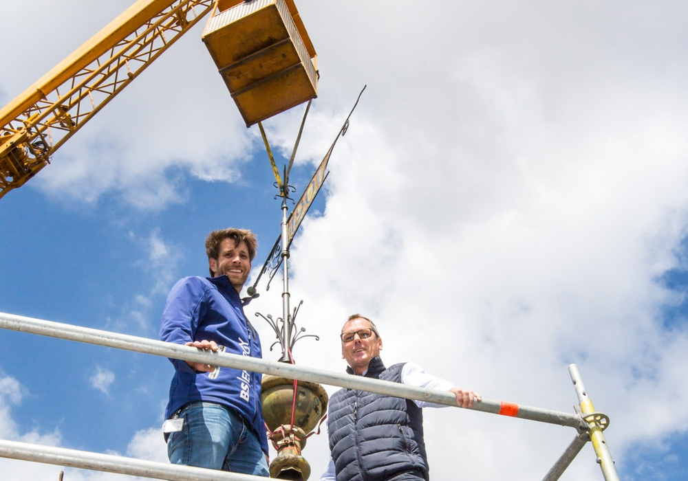"""Der Wasserturm am Giersberg hat seine """"Krone"""" wieder bekommen. Foto: BS Energy"""