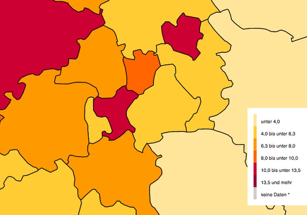 Auf einer Übersichtskarte wird die Ausländerverteilung in der Region gezeigt. Karte: BAMF