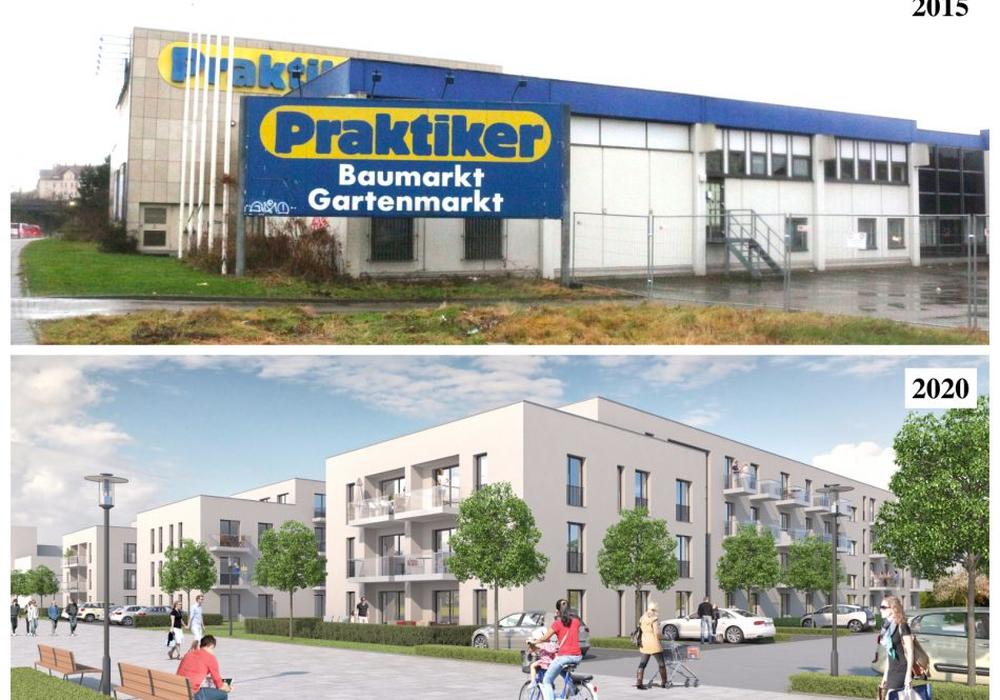Die Visualisierung (unten) zeigt, wie das Gelände des ehemaligen Praktiker-Marktes im Jahr 2020 aussehen könnte. Foto: KAPPE Projektentwicklung GmbH/Nick Wenkel