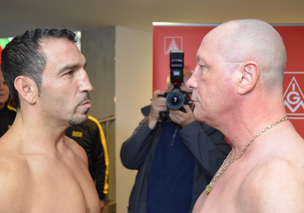 Firat Arslan und Uwe Hück stehen sich am morgigen Freitag im Ring gegenüber. Foto: Tiemann