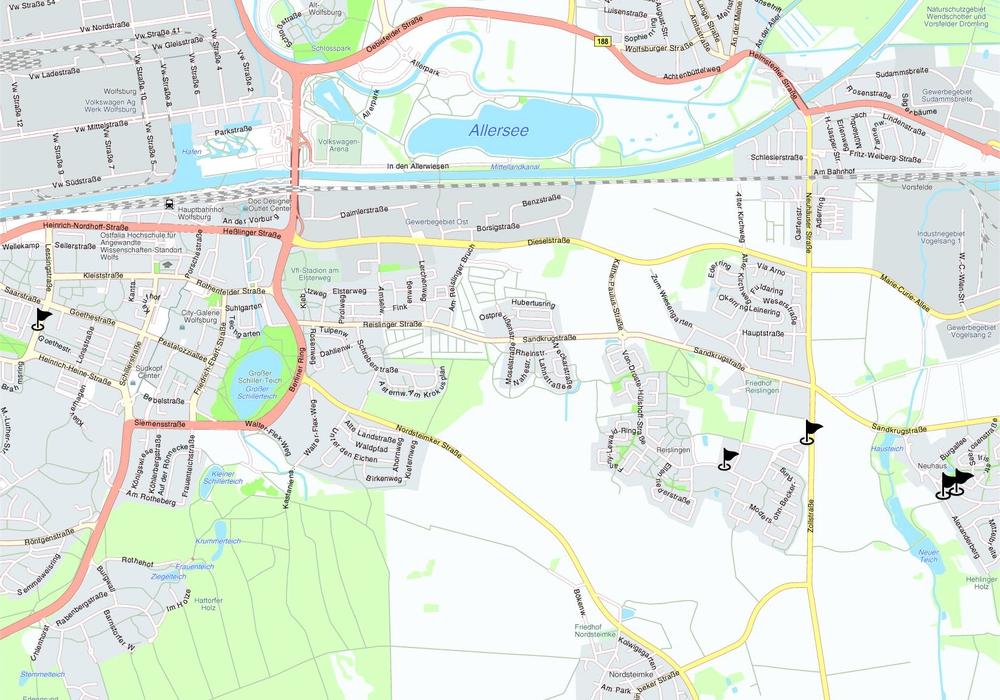 Insgesamt acht Haltestellen in Neuhaus, Reislingen und Stadtmitte werden grunderneuert. Karten: maps4news.com/©HERE