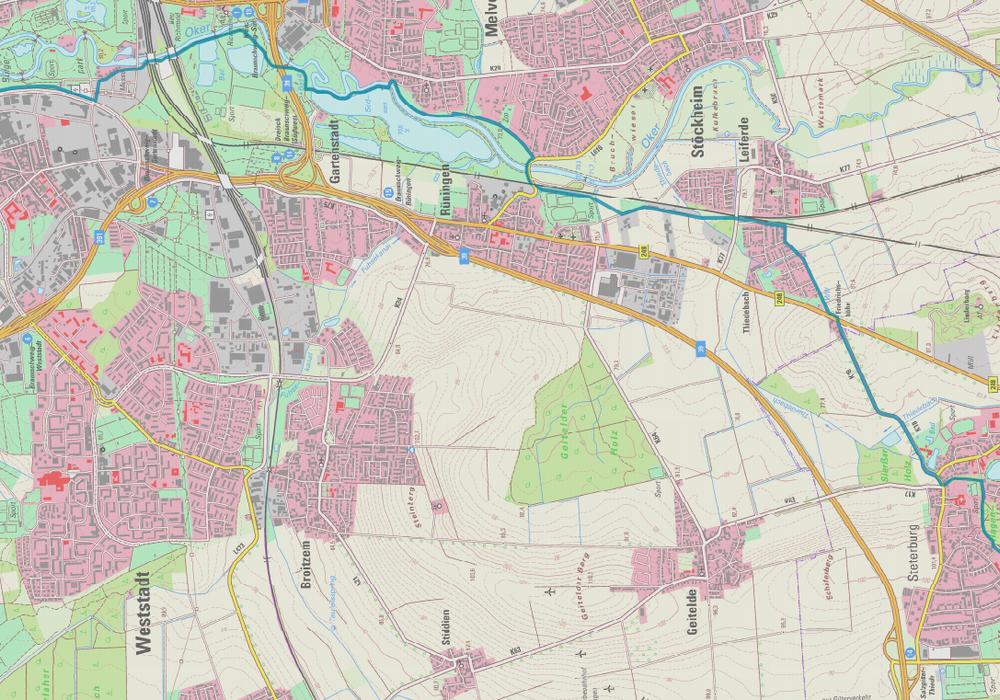 Die angedachte Trasse von Braunschweig nach Salzgitter-Thiede wäre 11,2 Kilometer lang und würde 8,13 Millionen Euro kosten. Foto: Stadt Salzgitter