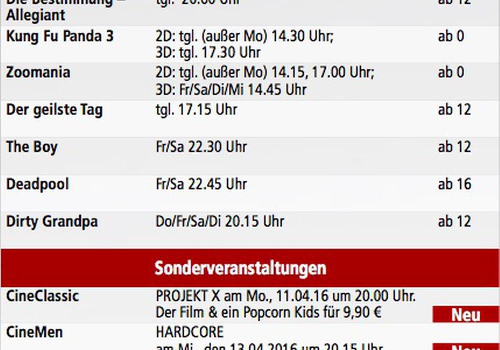 Kinoprogramm Helmstedt