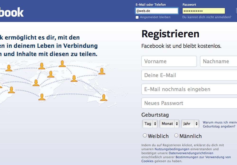 Schon beim Anmelden auf einer Kommunikationsplattformen sollte man genau prüfen, wozu man alles einwilligt. Screenshot: Archiv/Balder