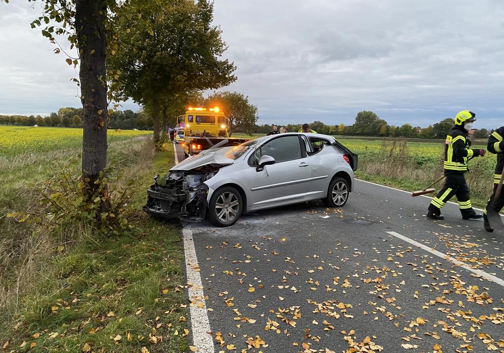 Das Auto war gegen einen Baum gefahren.
