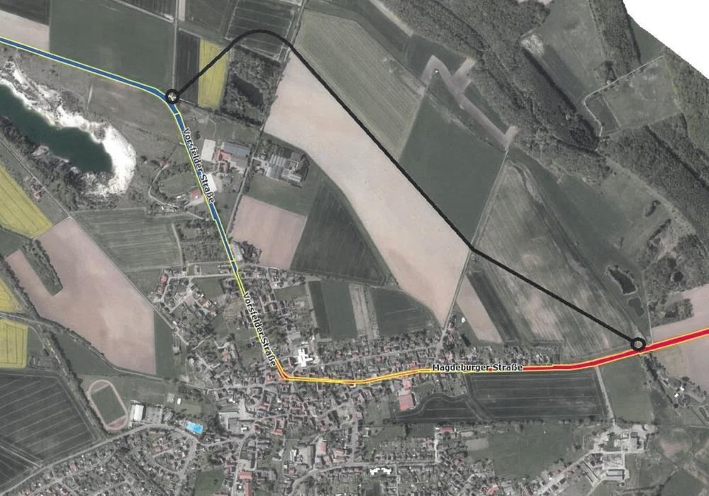 Orientierungszeichnung zur Nordumgehung der Gemeinde Grasleben.