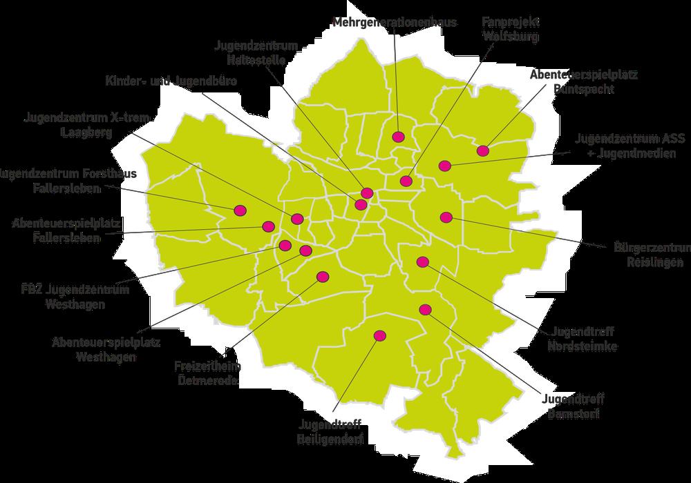 Die Karte zeigt Einrichtungen der Kinder- und Jugendarbeit.