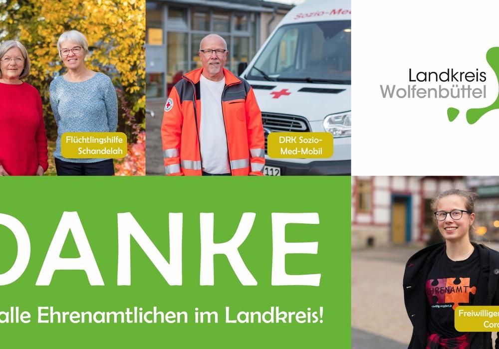 Der Landkreis Wolfenbüttel  dankt den Ehrenamtlichen mit einer Plakataktion.