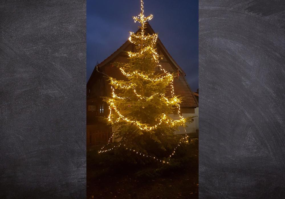 Auf dem Hachumer Dorfplatz wurde ein Weihnachtsbaum aufgestellt.