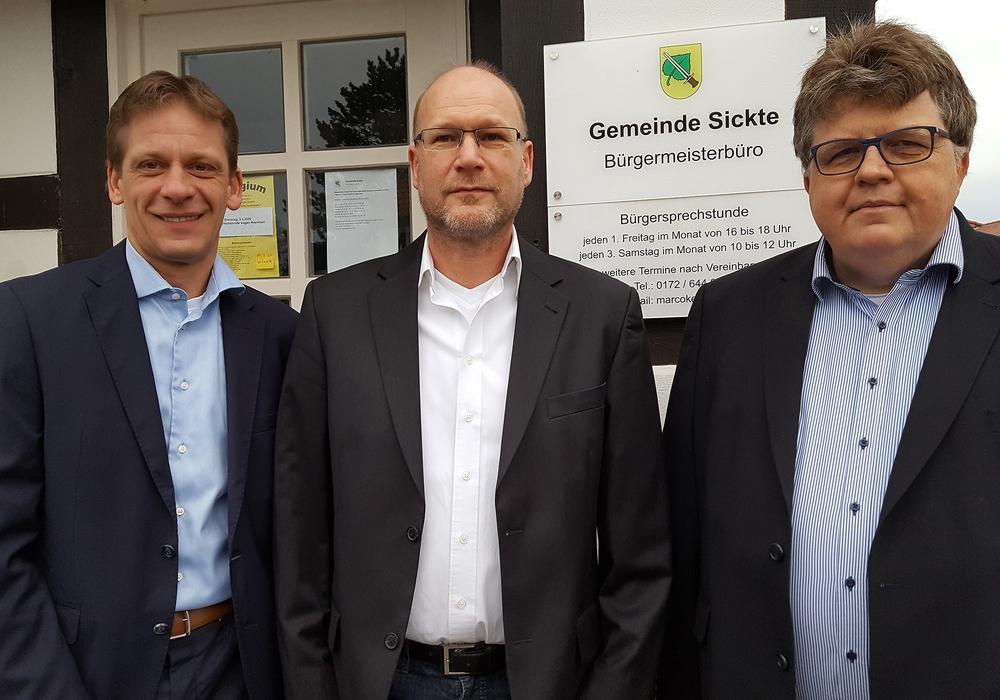 Kai Jacobs, Fraktionsvorsitzender CDU/FDP-Gruppe, Ingo Geisler und Matthias Otte, FDP (v. li.).
