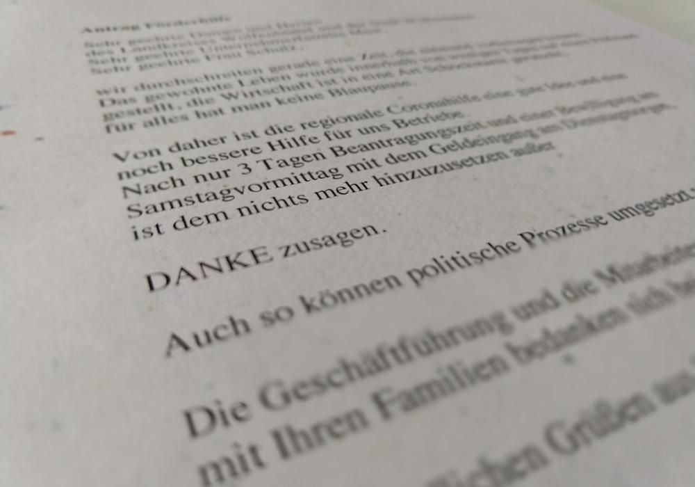 Mit einem Brief bedankt sich der Unternehmer Michael Grunenberg bei den Geldgebern der Soforthilfe in der Corona-Krise.