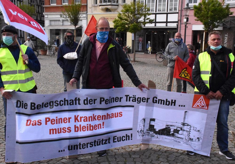 Protest auf dem Peiner Marktplatz.