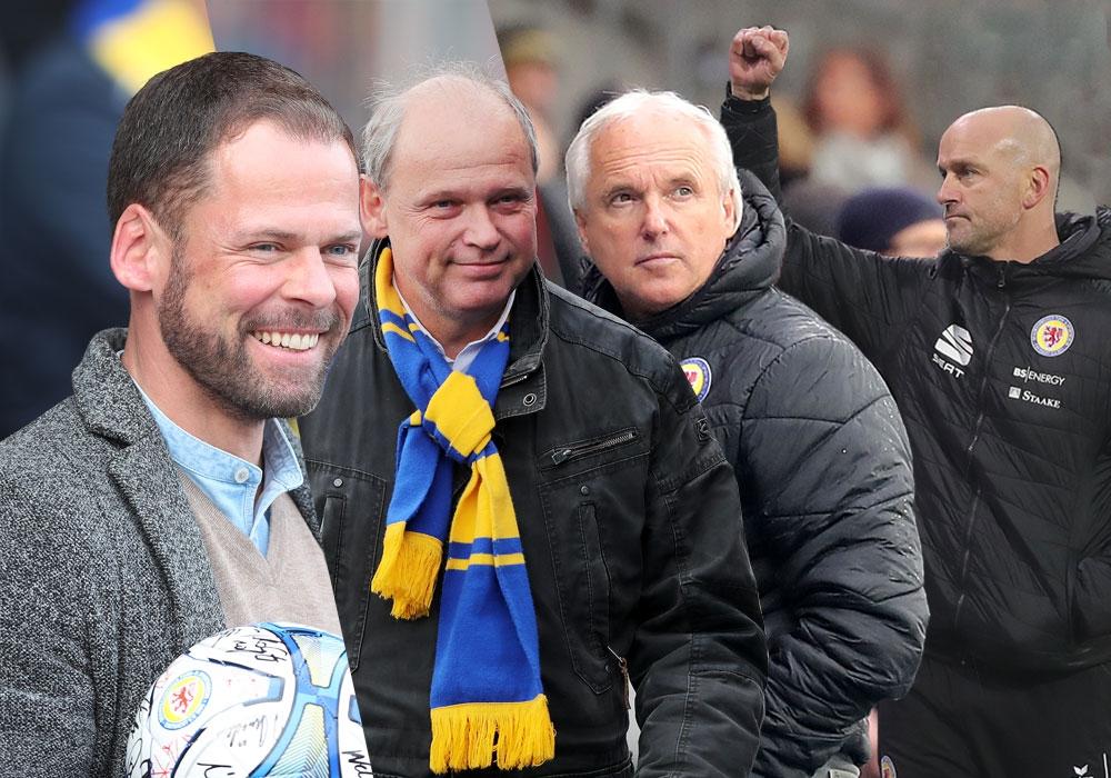 Geschäftsführer Wolfram Benz, Präsident Sebastian Ebel, Sportdirektor Peter Vollmann und Cheftrainer Marco Antwerpen (vlnr.) äußerten sich.