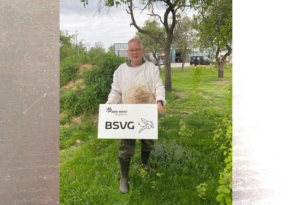 Imker Dr. Giselher Dombach stellt eine der Bienenbeuten am Busbetriebshof am Lindenberg auf.