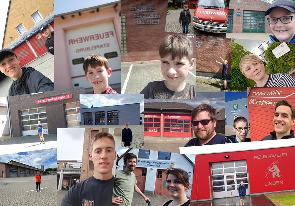 Die Selfies der Mitglieder vor dem Feuerwehrhaus.