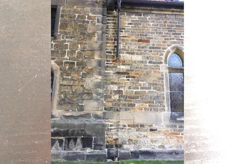 Die Kirche mit den fehlenden Kupferrohren.