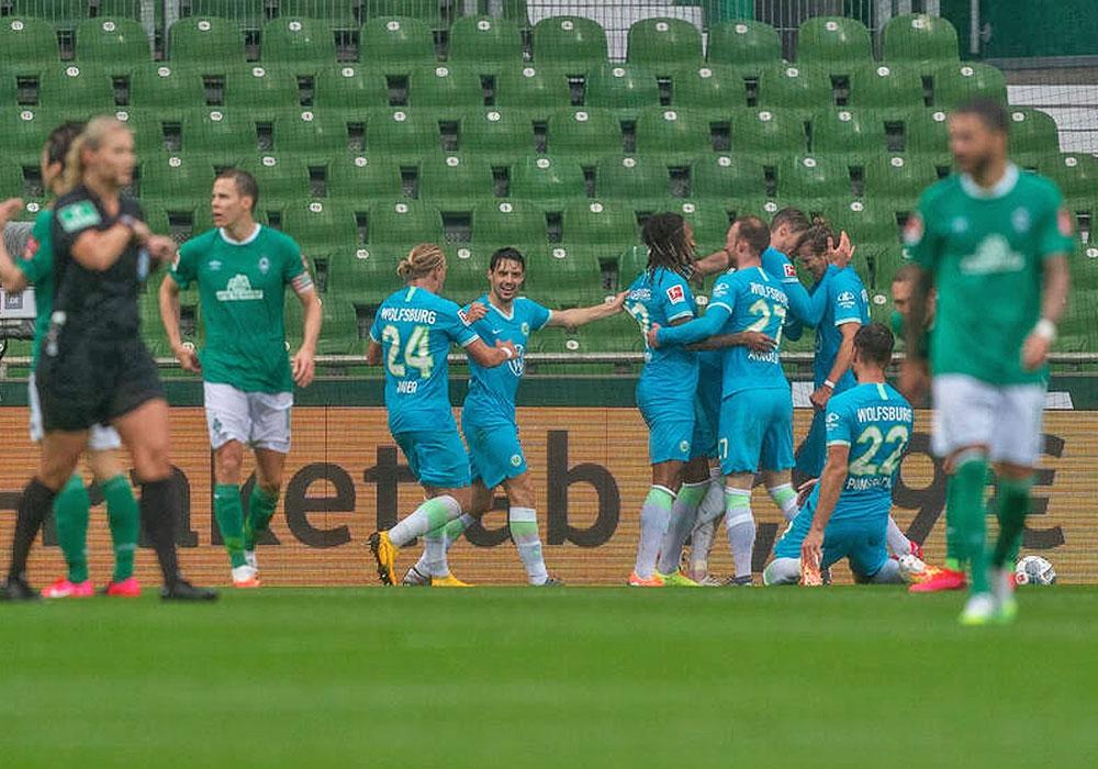 Jubel über das Tor des Tages beim VfL Wolfsburg.