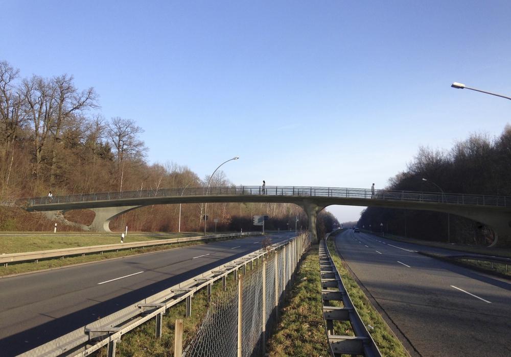 Die geplante Fußgänger- und Radfahrbrücke in Detmerode.