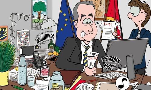 """Mit der Comic-Reihe """"Aus dem Leben eines Vizepräsidenten"""" stellt Frank Oesterhelweg seine Arbeit im Landtag vor."""