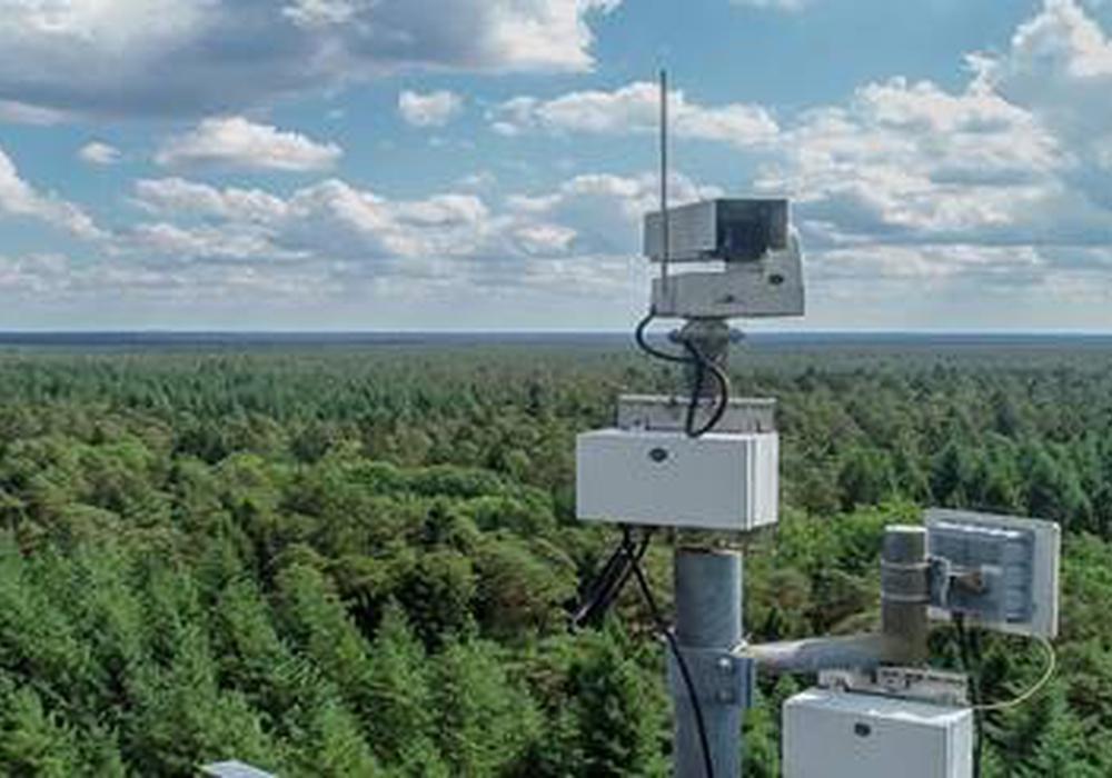Eine der 20 an Funkmasten installierten Kameras des Automatischen Waldbrandfrüherkennungssytsems (AWFS).