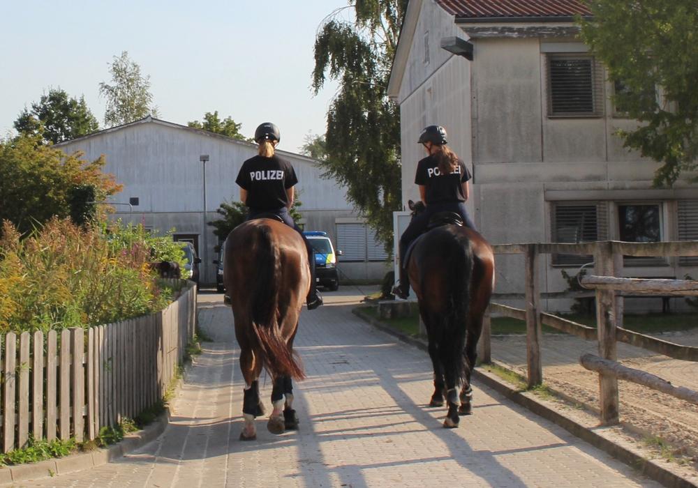 Die Reiter der Polizeireiterstaffel sind immer zu zweit unterwegs.