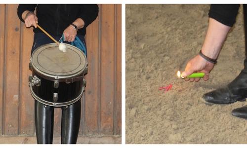 Die Pferde werden auf alles vorbereitet, was für ihre Arbeit als Polizeipferd wichtig ist. Auch bei lauten Trommeln oder Knallern dürfen sie nicht weglaufen.