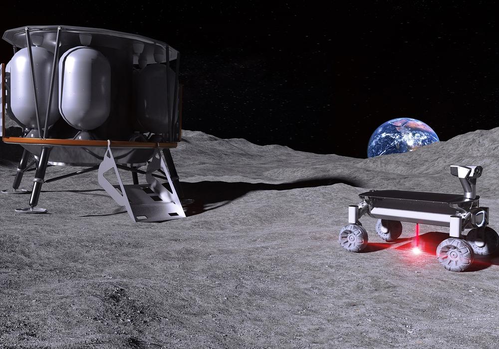 Der Vision ein Stück näher: MOONRISE-Technologie im Einsatz auf dem Mond – mit angeschaltetem Laser beim Aufschmelzen von Mondstaub.