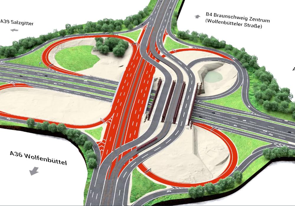 So wird der Verkehr nach Fertigstellung der Behelfsbrücke bis zum Ende der Bauarbeiten im Jahr 2024 geführt.