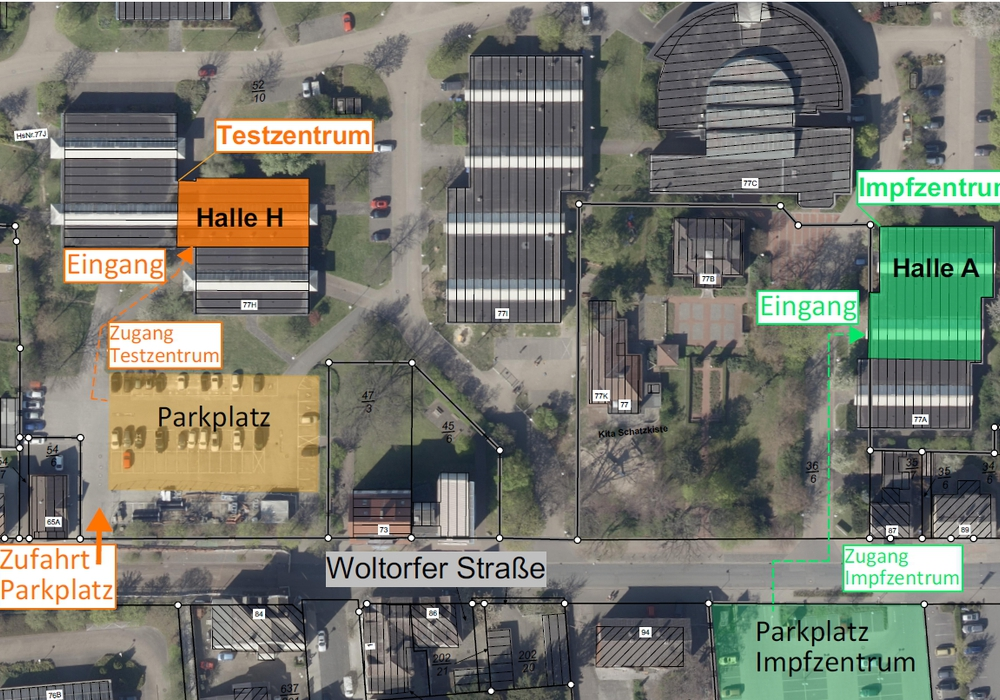 Der neue Standort des Testzentrums liegt in der Nähe des Impfzentrums.