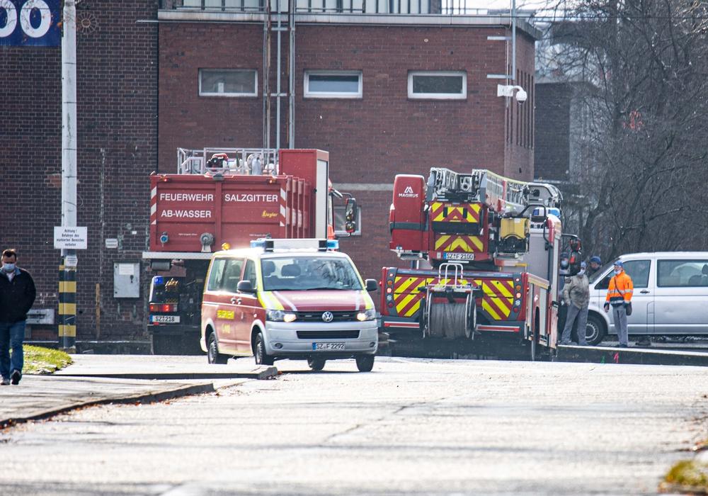 Feuerwehrfahrzeuge am Salzgitteraner Standort des Zugherstellers Alstom.