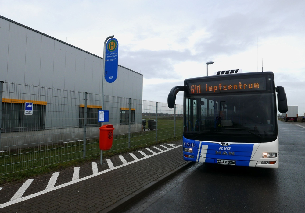 Die Buslinie zum Impfzentrum.