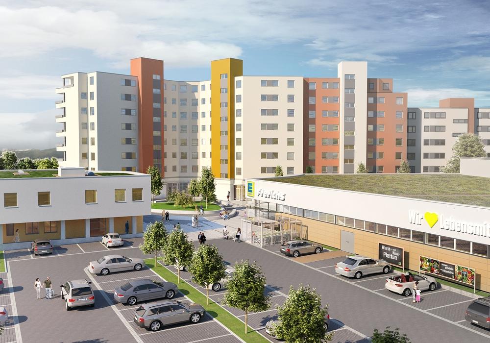 Im Hintergrund der sanierte Glanweg, das zukünftige Ärztehaus links und der EDEKA-Verbrauchermarkt rechts.